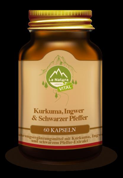 Kurkuma, Ingwer & Schwarzer Pfeffer Kapseln 60 Stück La Natura Lifestyle VITAL
