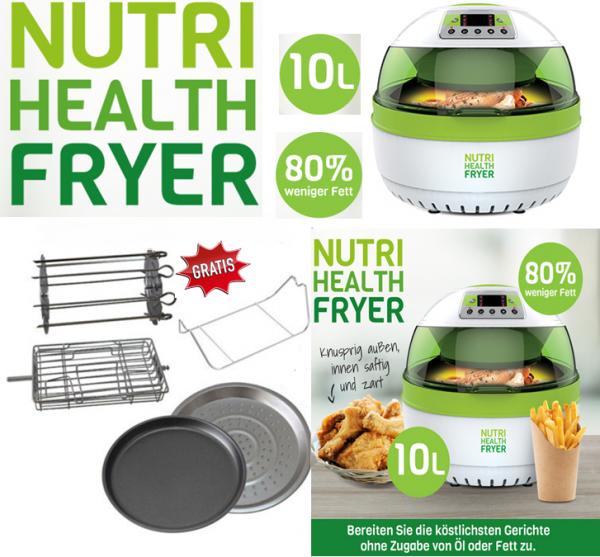 Nutri Health Fryer 10 L - Heissluftfritteuse + gratis 5tlg Deluxe Zubehör-Set für den Nutri Health F