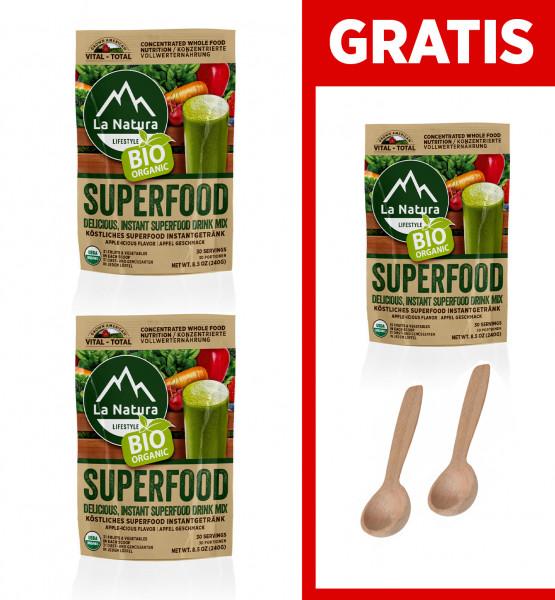 BIO Superfood 2+1 GRATIS mit 31 Obst-Gemüsearten + 2x Dosierlöffel La Natura Lifestyle BIO Vital