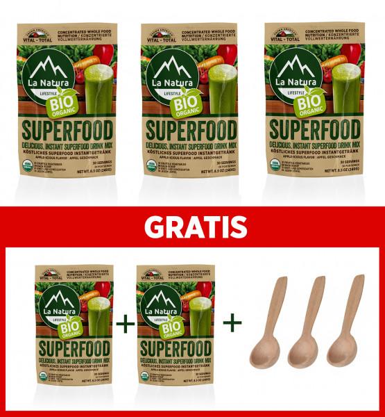BIO Superfood 3+2 GRATIS mit 31 Obst-Gemüsearten + 3x Dosierlöffel La Natura Lifestyle BIO Vital