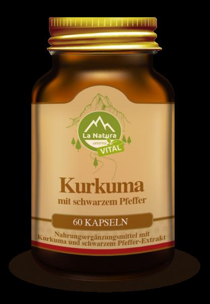 Kurkuma mit schwarzem Pfefferextrakt Kapseln 60 Stück La Natura Lifestyle VITAL